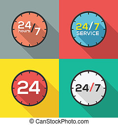 24 hours a day and 7 days a week service flat icon clock