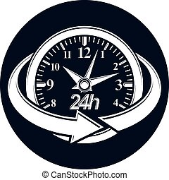24 hours-a-day concept, clock face with a dial and an arrow...