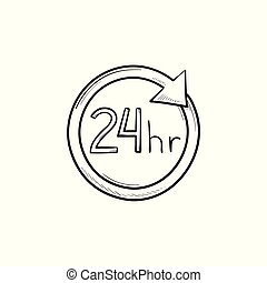 24 hours available hand drawn outline doodle icon. - 24...