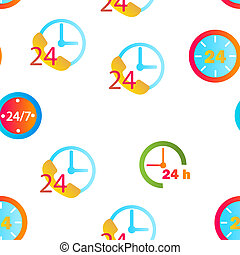 24 Hours, Clock, Time Seamless Pattern