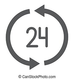 24 hours delivery glyph icon, service and delivery, twenty four hour sign, vector graphics, a solid pattern on a white background.