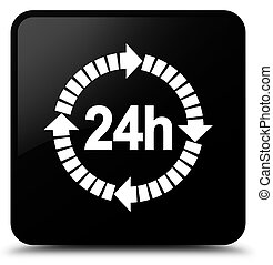 24 hours delivery icon black square button