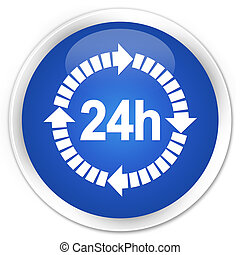 24 hours delivery icon blue glossy round button