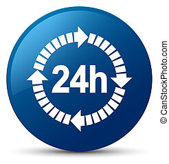 24 hours delivery icon blue round button
