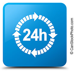 24 hours delivery icon cyan blue square button
