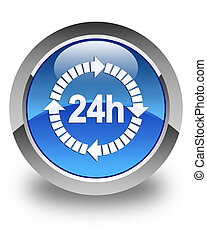 24 hours delivery icon glossy blue round button