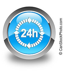 24 hours delivery icon glossy cyan blue round button