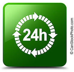 24 hours delivery icon green square button