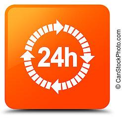 24 hours delivery icon orange square button