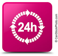 24 hours delivery icon pink square button