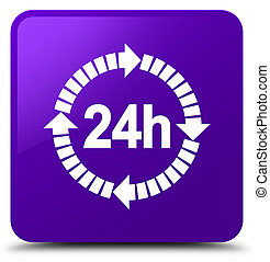 24 hours delivery icon purple square button
