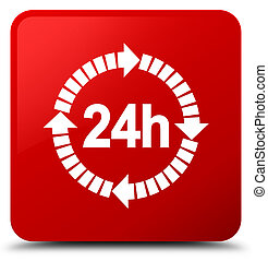 24 hours delivery icon red square button