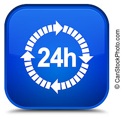 24 hours delivery icon special blue square button