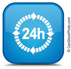 24 hours delivery icon special cyan blue square button