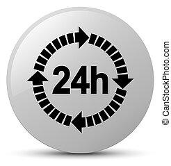 24 hours delivery icon white round button