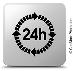24 hours delivery icon white square button