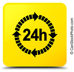 24 hours delivery icon yellow square button