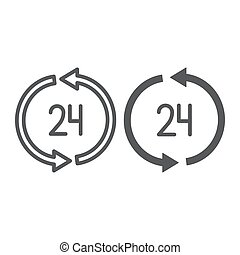 24 hours delivery line and glyph icon, service and delivery, twenty four hour sign, vector graphics, a linear pattern on a white background.