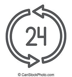 24 hours delivery line icon, service and delivery, twenty four hour sign, vector graphics, a linear pattern on a white background.