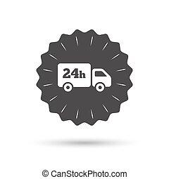 24 hours delivery service. Cargo truck symbol. - Vintage...