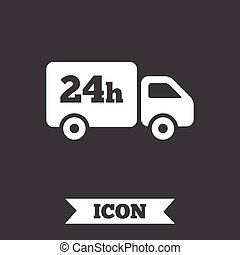 24 hours delivery service. Cargo truck symbol. Graphic...