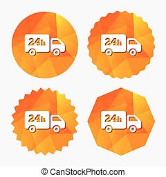 24 hours delivery service. Cargo truck symbol. Triangular...