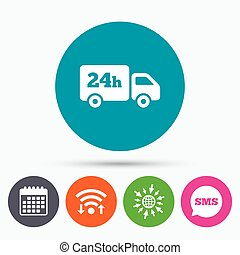 24 hours delivery service. Cargo truck symbol. - Wifi, Sms...