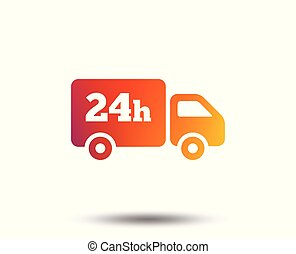 24 hours delivery service. Cargo truck symbol. Blurred...