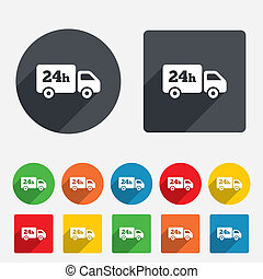 24 hours delivery service. Cargo truck symbol. Circles and...