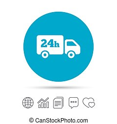 24 hours delivery service. Cargo truck symbol. Copy files,...