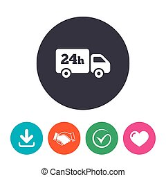 24 hours delivery service. Cargo truck symbol. Download...