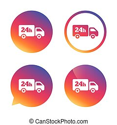 24 hours delivery service. Cargo truck symbol. Gradient...