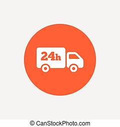 24 hours delivery service. Cargo truck symbol. Orange circle...