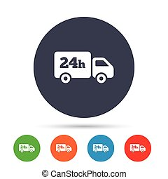 24 hours delivery service. Cargo truck symbol. Round...