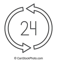 24 hours delivery thin line icon, service and delivery, twenty four hour sign, vector graphics, a linear pattern on a white background.