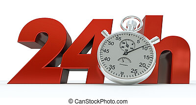24 Hours - 3D rendering of 24 H in red letters with a...