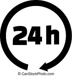 24 hours icon black - 24 hours icon with black arrow