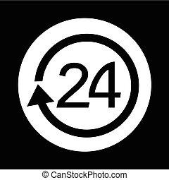 24 hours icon illustration design