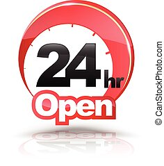 24 Hours Open circle graphic icon.