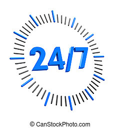 24 hours open clock concept  3d illustration