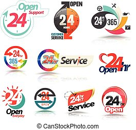 24 hours open customer service collection. Vector...