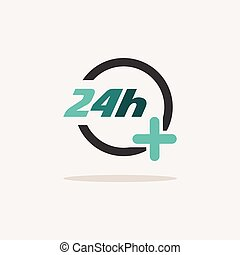 24 hours pharmacy services. Icon with shadow on a beige background. Medicine vector illustration