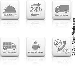 24 hours Service buttons. Delivery icons