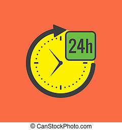 24 hours service concept. Flat design. Isolated on color ...