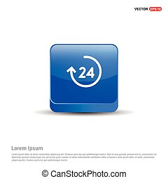 24 hours service icon - 3d Blue Button