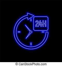 24 hours service neon sign. Bright glowing symbol on a black background.