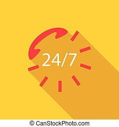 24 hours service sign icon, flat style