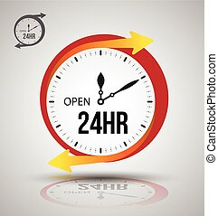 24 hours services banner. Vector illustration.