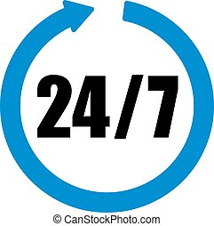 24 hours seven days a week icon with blue arrow