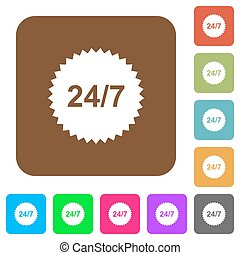 24 hours seven sticker rounded square flat icons
